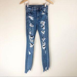 American Eagle Distressed Shark Bite Skinny Jeans